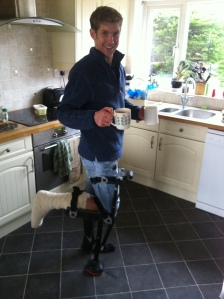 "Tea time, this was my ""hands free"" alternative to crutches"
